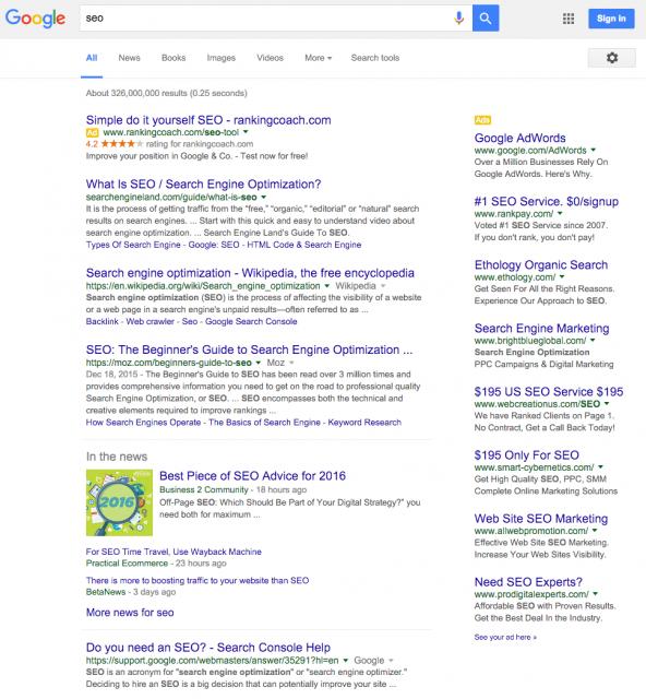 anúncios google adwords na coluna da direita