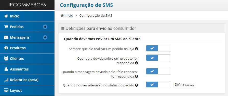 envio de sms no e-commerce